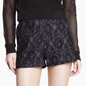 Express Denim Black Lace Overlay High Waist Shorts